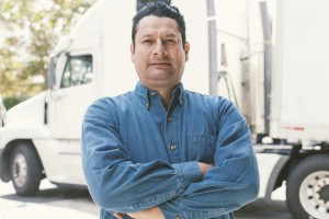 strong latino semi truck driver